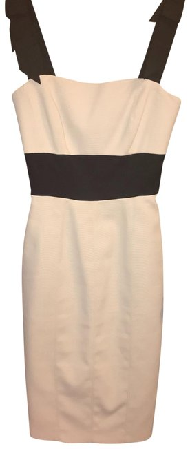 Item - Nude/Off White/Black Slim Mid-length Cocktail Dress Size 2 (XS)