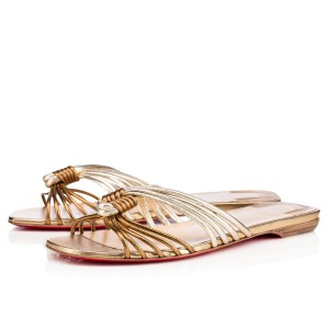 Christian Louboutin Knot Strappy Resort Version Sahara, Bronze, Copper, Champagne Sandals