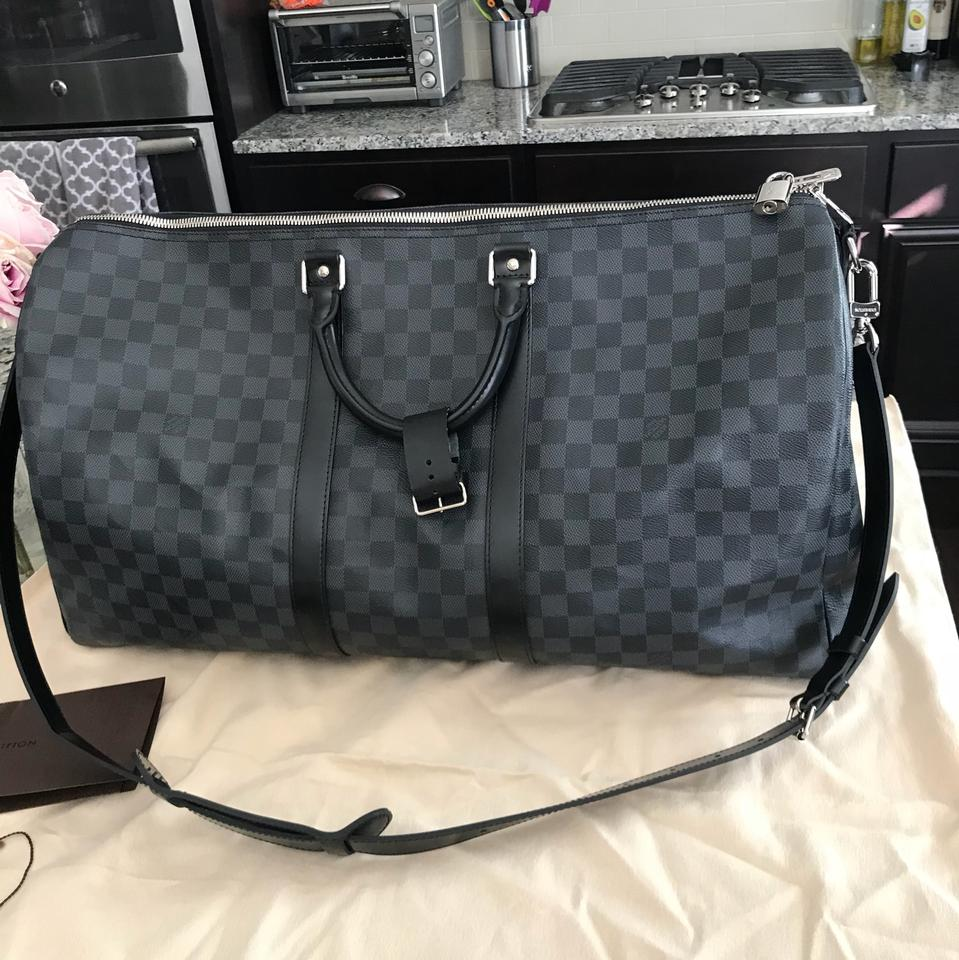 957b379cee7d Louis Vuitton Keepall Duffle Bandouliere 55 Damier Graphite Canvas Gray  Leather Weekend Travel Bag