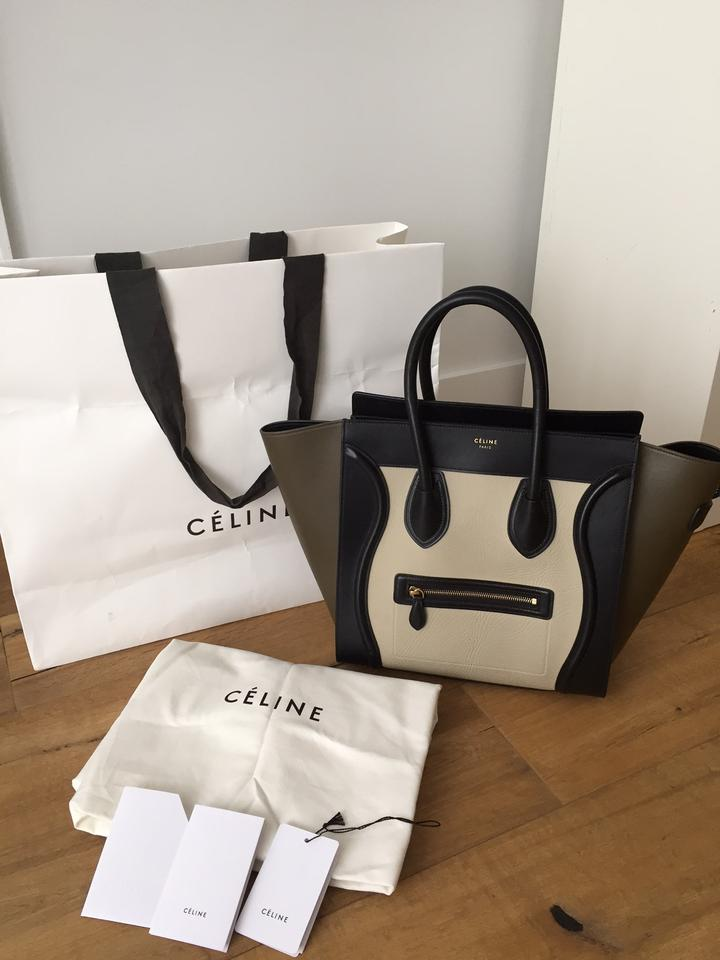 Luggage Kaki Mini Tricolor Tote Leather Céline Beige Black d6OIdq