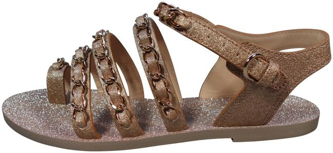 Item - Gold 37/7 Metallic Fantasy Leather Woven Chain Sandals New Flats Size EU 37 (Approx. US 7) Wide (C, D)