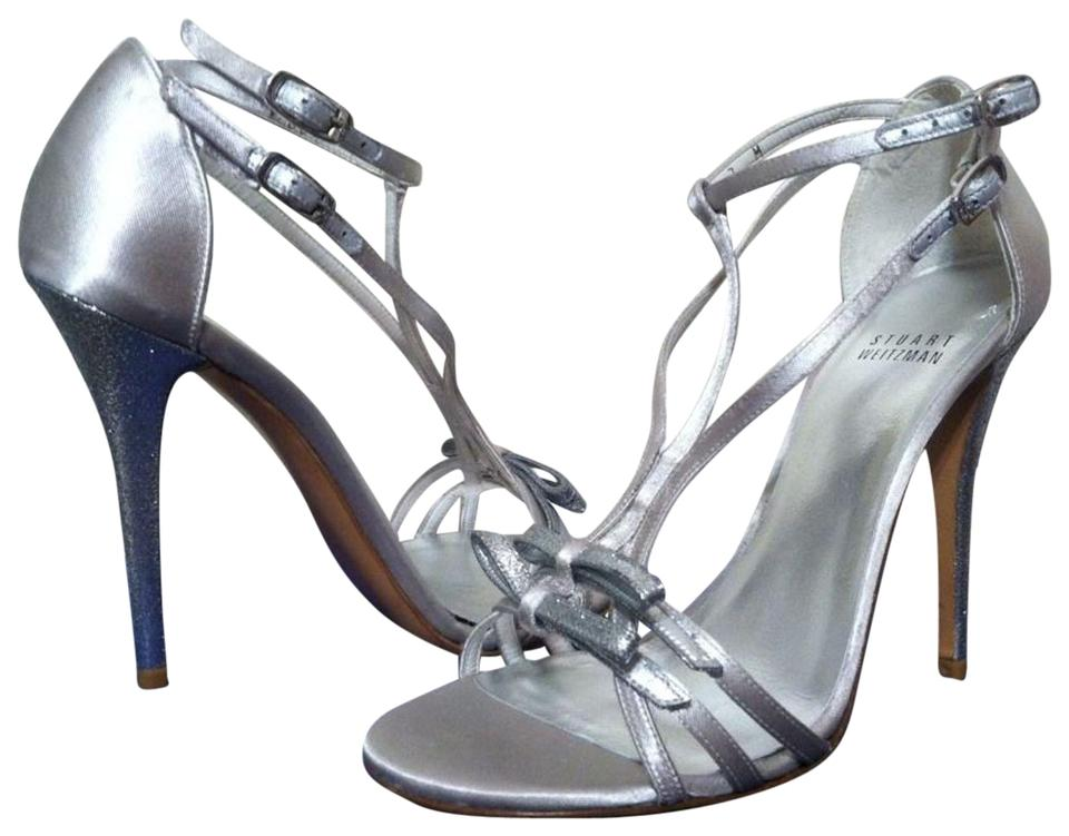 Stuart Weitzman Moonglow Satin Up - Silver Bow Goes Up Satin Women's Dressy Evening Strappy Heels M Sandals f6a7f7