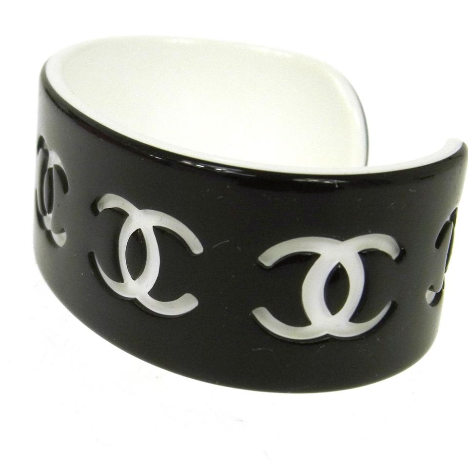 Chanel Plastic Cc Logos Coco Black Vintage Bracelet Bangle