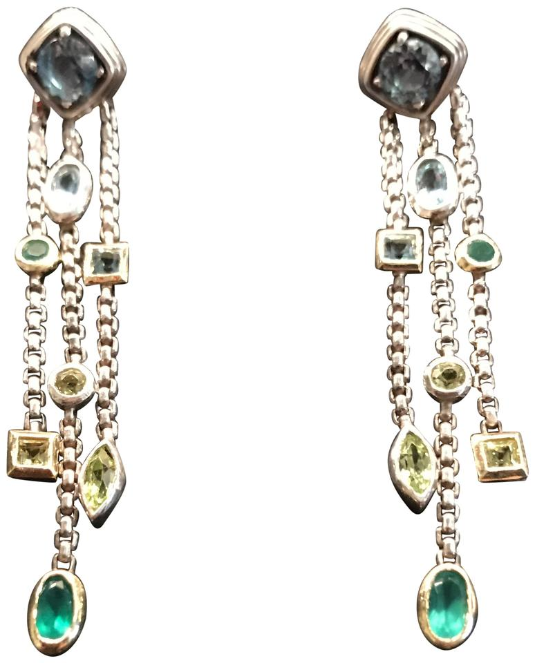 David Yurman 18k Sterling Blue Topaz Confetti Earrings