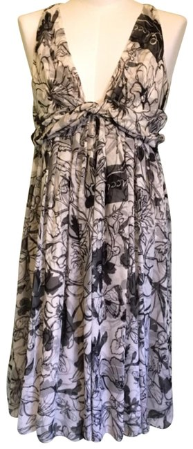 Item - Black and White. Silk 222259 Zu272 Mid-length Short Casual Dress Size 8 (M)