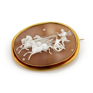 Other Large Ben Hur Chariot Shell Cameo 22k Gold Brooch