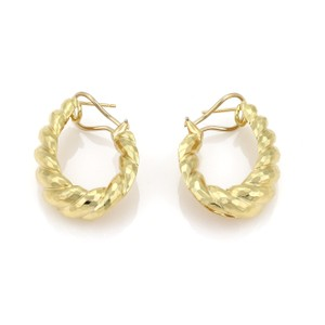 Henry Dunay Designs Hammered Shell 18k Yellow Gold Oval Hoop Clip Post Earrings
