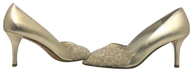 Item - Gold Leather / Lace Chantilly Chantelle Alluminium Evening High Heel Pumps N Formal Shoes Size US 9 Narrow (Aa, N)