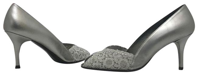 Item - Aluminum Gray Leather / Lace Chantilly Chantelle Silver Evening High Heels Pumps Formal Shoes Size US 10 Narrow (Aa, N)