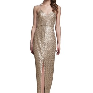 Amsale Latte Samantha Spaghetti Strap V-neck Sequin Gown Formal Bridesmaid/Mob Dress Size 4 (S)
