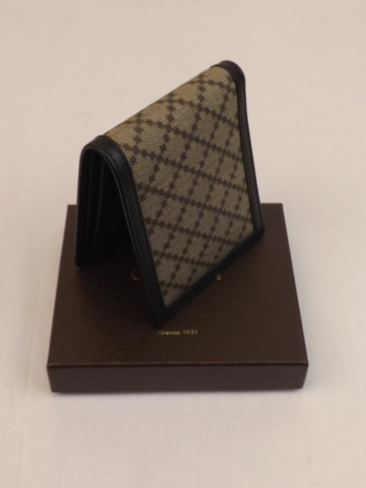 76cf6722af3 Gucci Beige   Black Diamante Canvas Bifold Leather Wallet  225826 Men s  Jewelry Accessory