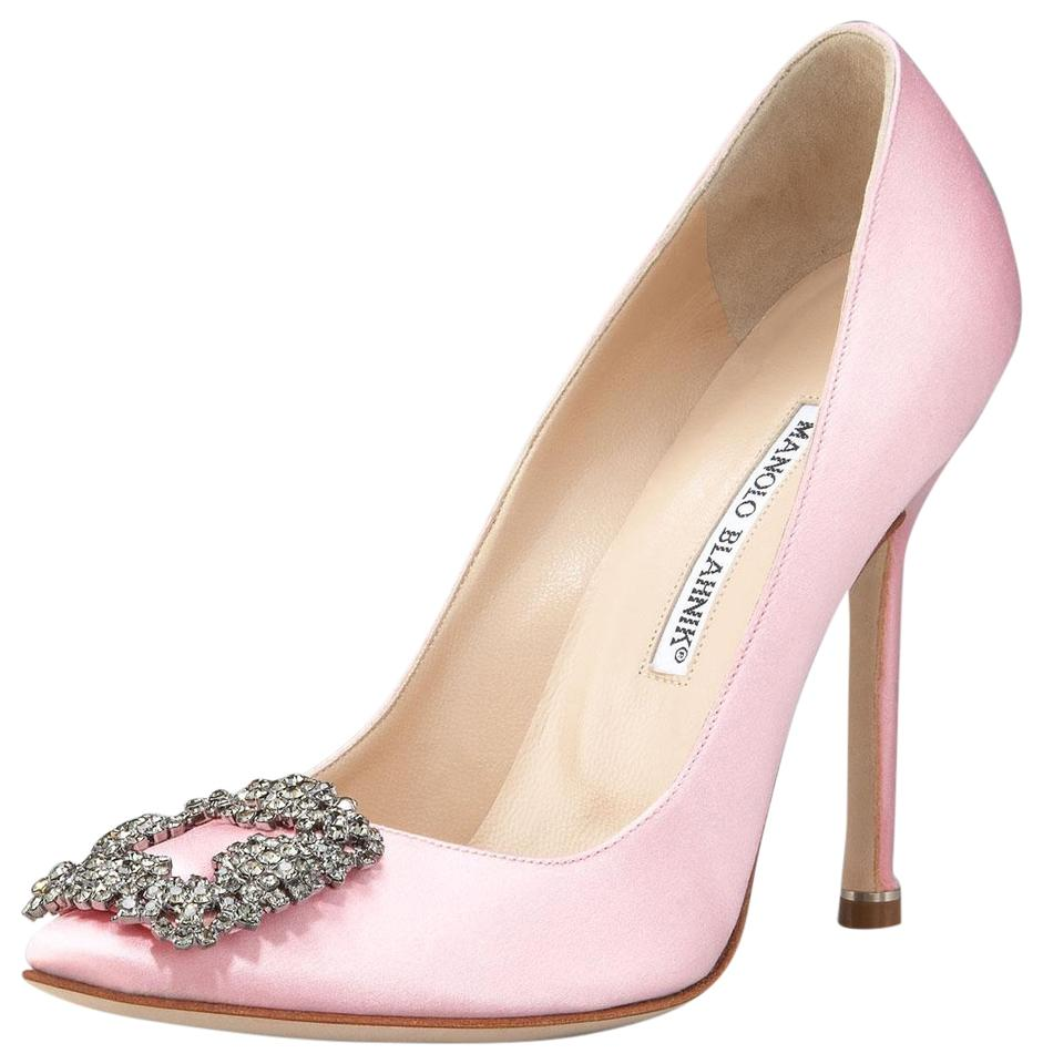 d904dec677e6 Manolo Blahnik Light Pink Hangisi Crystal-buckle Satin 105mm Pumps ...