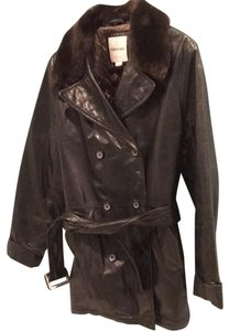 Andrew Marc Black with brown faux fur collar Leather Jacket