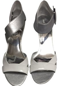 Nine West Silver/white Wedges