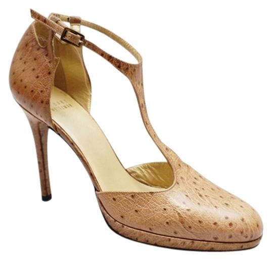 Stuart Weitzman Ovaltee Ostrich Leather 10 Tan Pumps