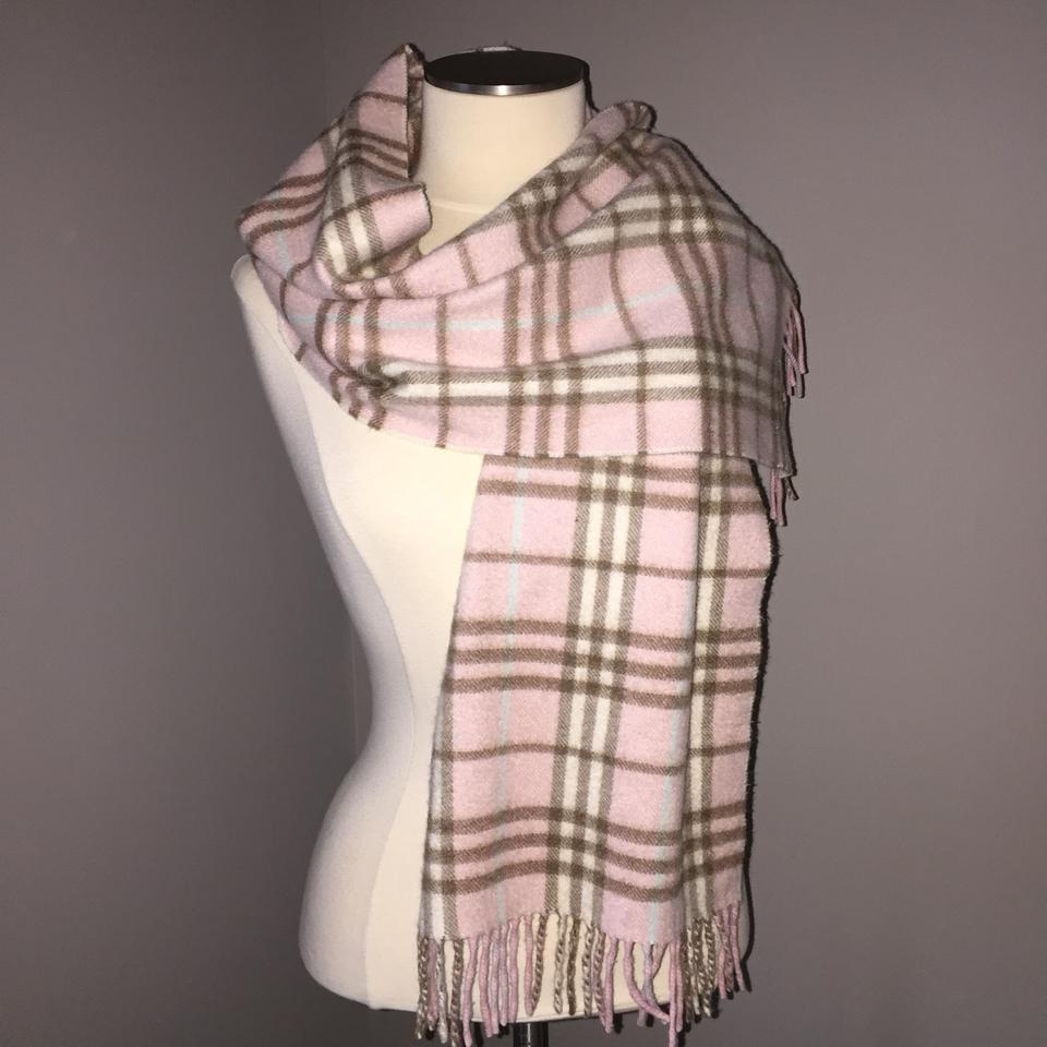 e20beee130bc Burberry Nova Check Plaid Scarf 100% Cashmere Pink Brown Blue Tan Cream  White Image 0 ...