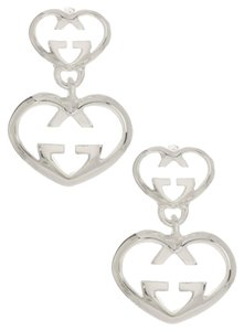 Gucci GUCCI Love Britt Sterling Silver Double Heart Drop Earrings