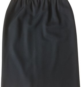 Courrèges Vintage Classic Pencil Wool Skirt Black
