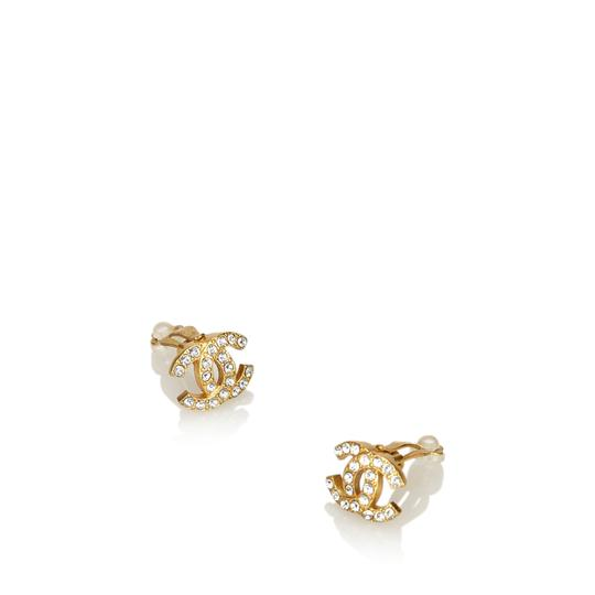 Chanel CC Rhinestone Studded Clip On Earrings