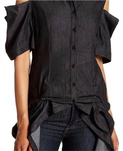 TOV Holy Open Shoulder Chambray Top Black