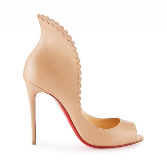 Christian Louboutin Pijonina Pigalle Stiletto Peep Toe Scalloped nude Pumps