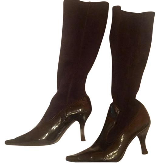 Preload https://img-static.tradesy.com/item/22543423/franco-sarto-black-suede-patent-leather-heeled-bootsbooties-size-us-10-regular-m-b-0-1-540-540.jpg