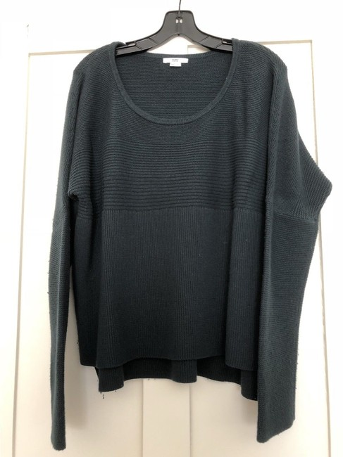 Helmut Lang Ribbed Loose Fit Asymmetrical Hem Sweater