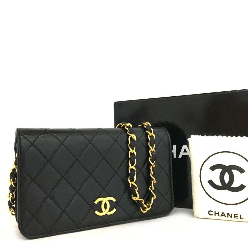 4da2ba87fc57 Chanel Classic Quilted Single Flap 5657 Black Lambskin Leather Shoulder Bag
