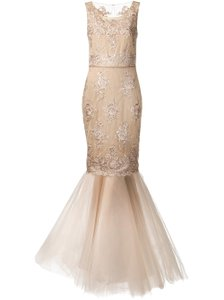 Marchesa Notte Rose Gold Nylon/Rayon/Lined Embroidered Mermaid Gown Formal Bridesmaid/Mob Dress Size 10 (M)