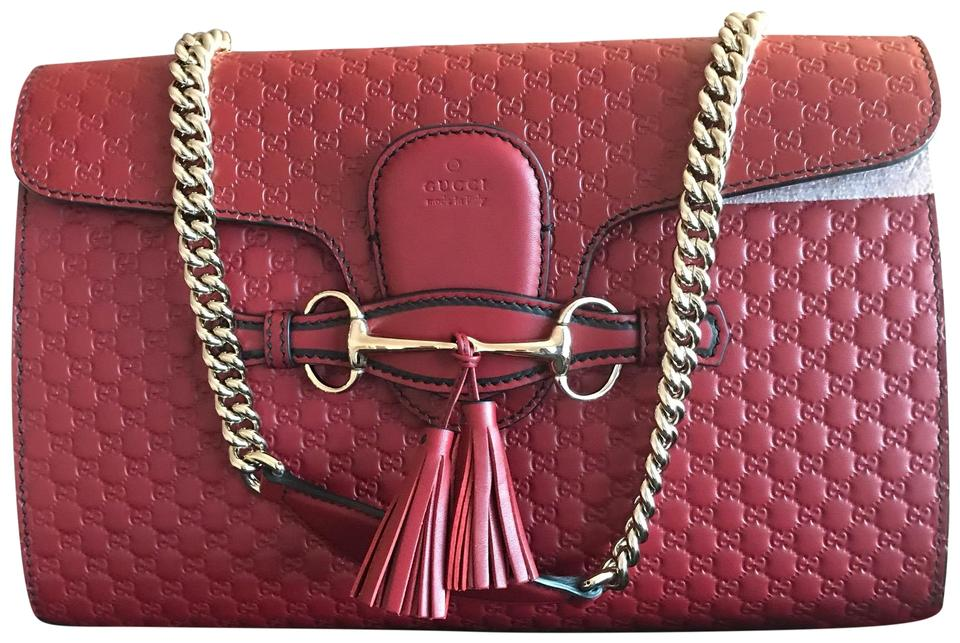 e65e29a7431 Gucci Emily Guccissima Chain Dark Red Leather Shoulder Bag - Tradesy