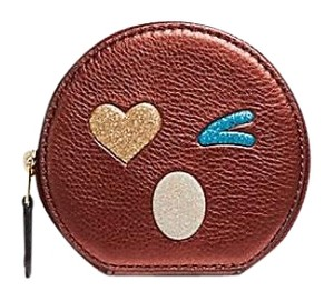 Coach Round Coin Case With Glitter Heart