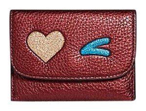 Coach Card Pouch With Glitter Heart