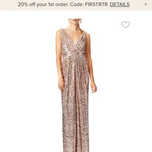 Badgley Mischka Rose Gold Sequin Glitzy Gown Formal Bridesmaid/Mob Dress Size 0 (XS)