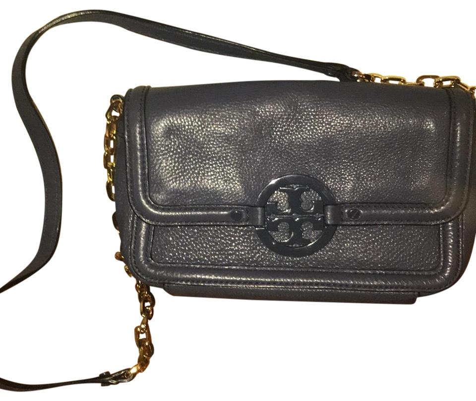 6ca5e6609a1 Tory Burch Amanda Mini Crossbody Indigo Pebbled Leather Shoulder Bag ...