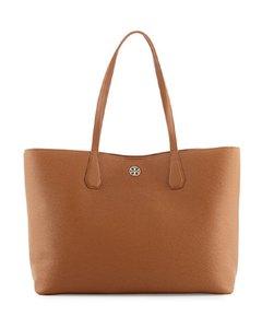 Tory Burch Pebbled Leather Tan Brown Perry Gold Tote in Bark