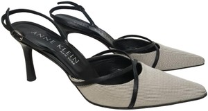AK Anne Klein Slingback Criss-cross Black and White Fabric Pumps