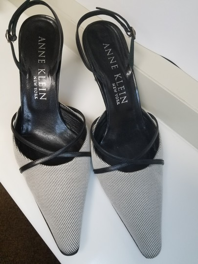 AK Anne Klein Slingback Criss-cross Black and White Fabric Pumps Image 1