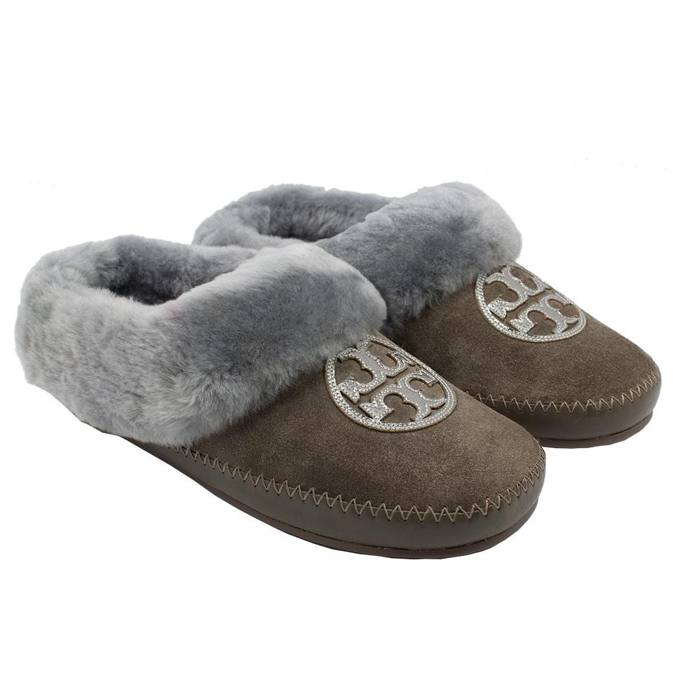 0f94b2a3b09 Tory Burch Elephant Pewter Madame Gray Coley Slippers Split Suede Mirror  Craqulee Flats