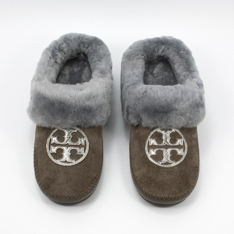 fde05bfd77c Tory Burch Elephant Pewter Madame Gray Coley Slippers Split Suede ...