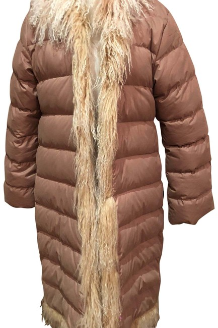 Item - Beige. White and Beige Curly Fur Trim Long Trimmed 3 Coat Size 8 (M)