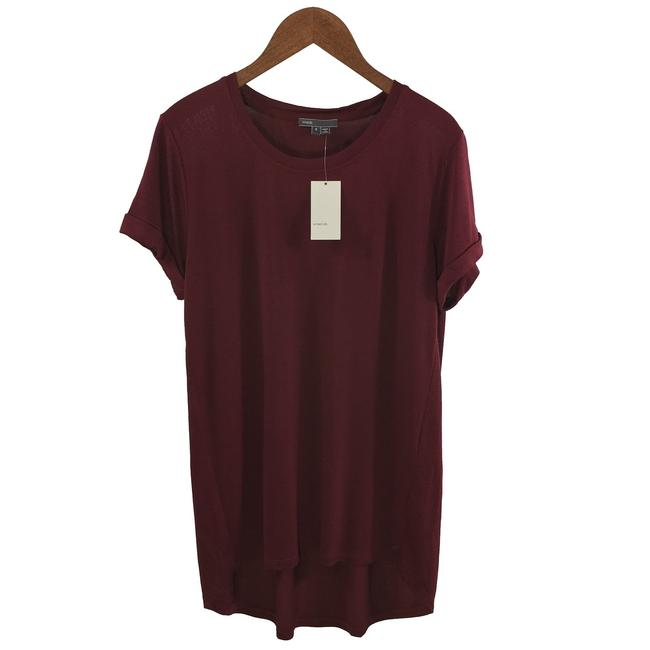 Vince T-shirt Polyes Casual Fall Winter T Shirt BORDEAUX