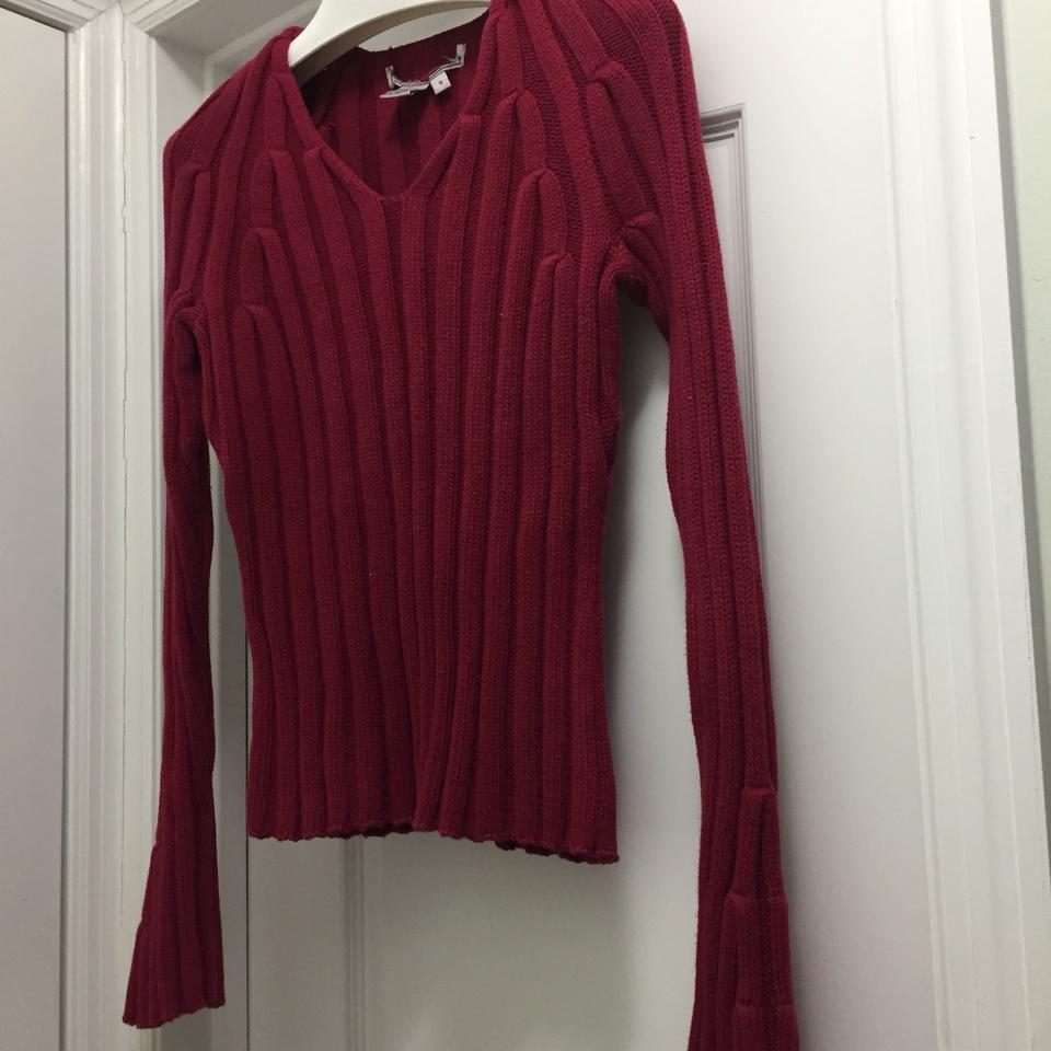 Burgundy Cable Knit Cotton Sweaterpullover Size 6 S Tradesy