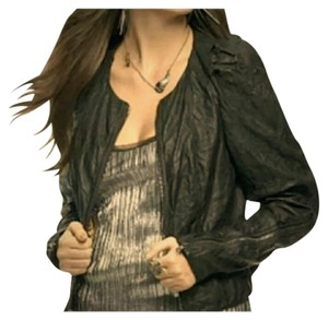 Rachel Roy Crinkled Leather Puff Sleeves Size Small Leather Black Jacket