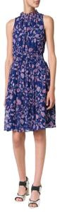 Rebecca Taylor short dress Ink Blue Silk Metallic Floral Flower Navy Floral on Tradesy