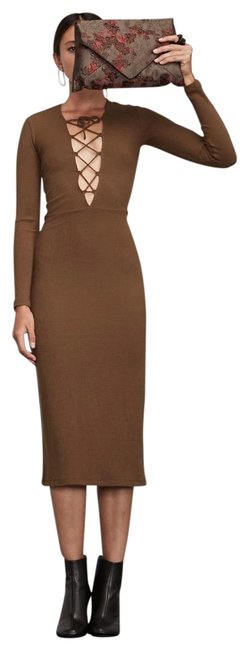 Item - Brown Edison Lace Up Midi Mid-length Casual Maxi Dress Size 4 (S)