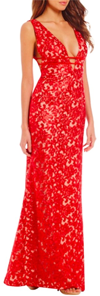 46f1432a101 Gianni Bini Red   Nude Noami V-neck Sleeveless Embroidered Gown Long ...