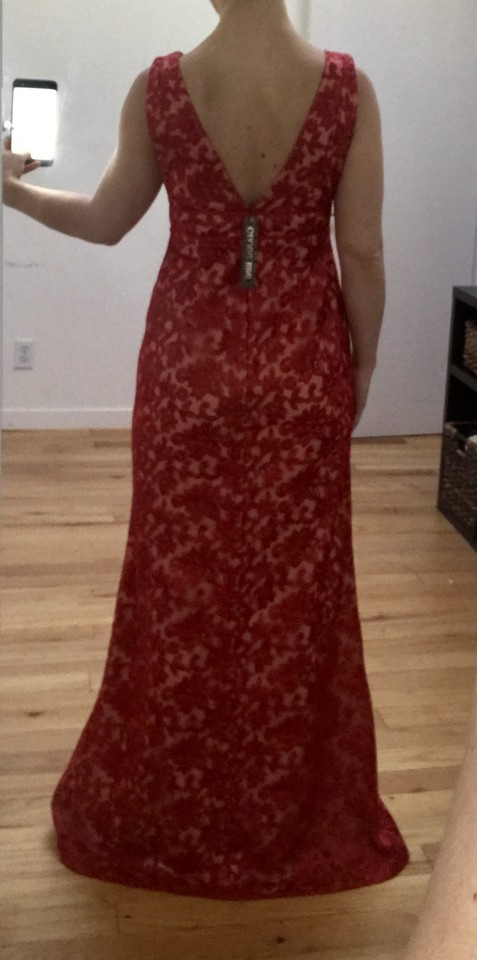 7c3bf20018c Gianni Bini Red   Nude Noami V-neck Sleeveless Embroidered Gown Long Formal  Dress Size 2 (XS) - Tradesy