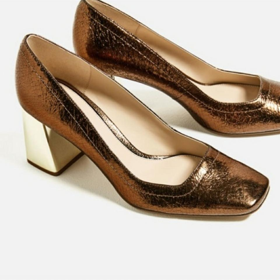 Zara Copper/Gold Fav New with Tags Bloggers Fav Copper/Gold Crackled Leather Pumps 2f3d56