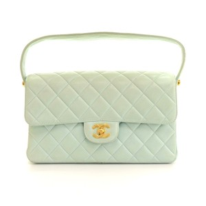 Chanel Quilted Flax Cyan Hobo Bag