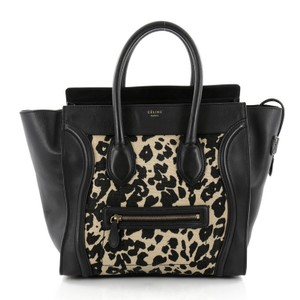 Céline Luggage Leather Canvas Tote in Black